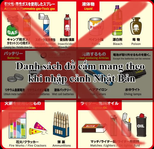 Prohibited items when entering Japan